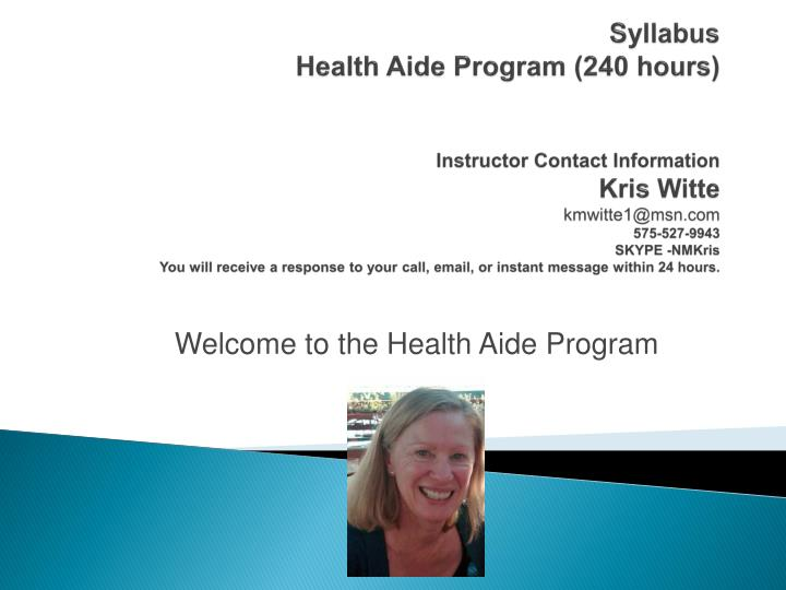 Welcome to the health aide program