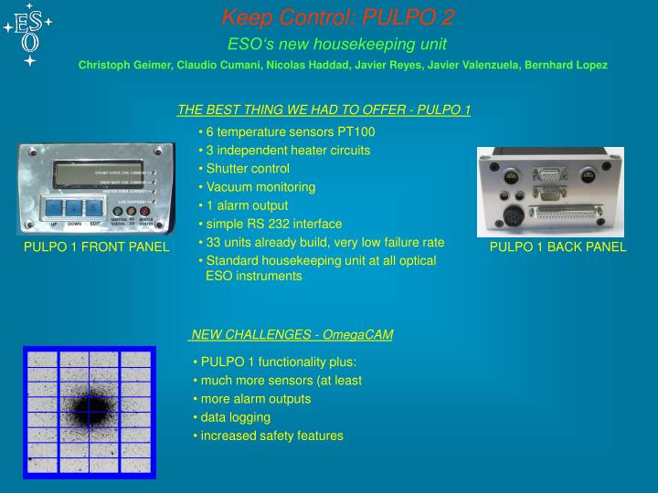 PPT - Keep Control: PULPO 2 ESO's new housekeeping unit PowerPoint