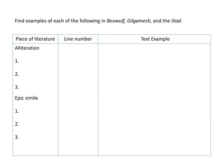 Ppt Find Examples Of Each Of The Following In Beowulf Gilgamesh