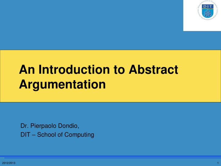 an introduction to abstract argumentation n.
