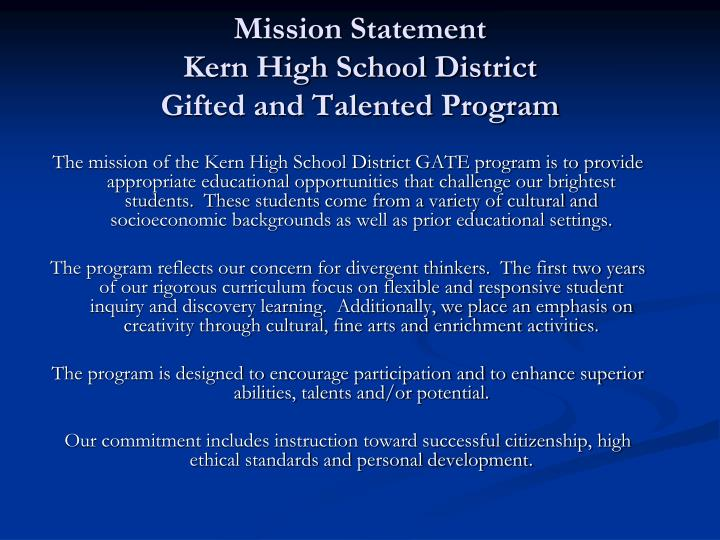 mission statement kern high school district gifted and talented program n.