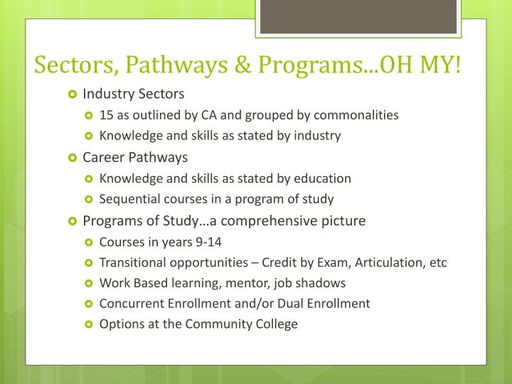 Sectors pathways programs oh my