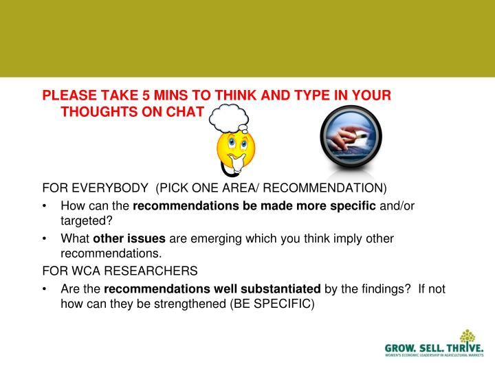 PLEASE TAKE 5 MINS TO THINK AND TYPE IN YOUR THOUGHTS ON CHAT