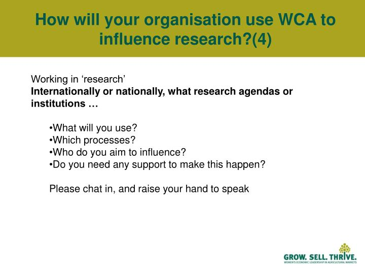 How will your organisation use WCA to influence research?(4)