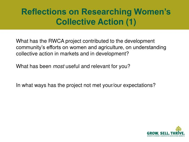 Reflections on Researching Women's Collective Action (1)