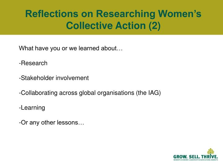 Reflections on Researching Women's Collective Action (2)