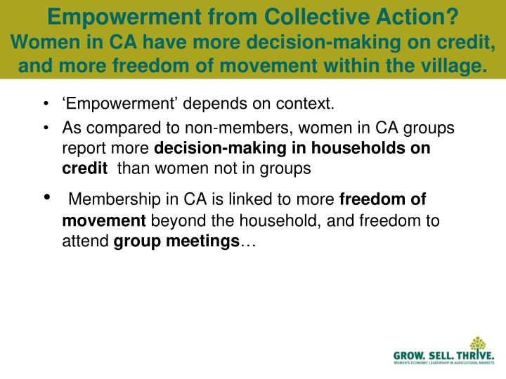 Empowerment from Collective Action?