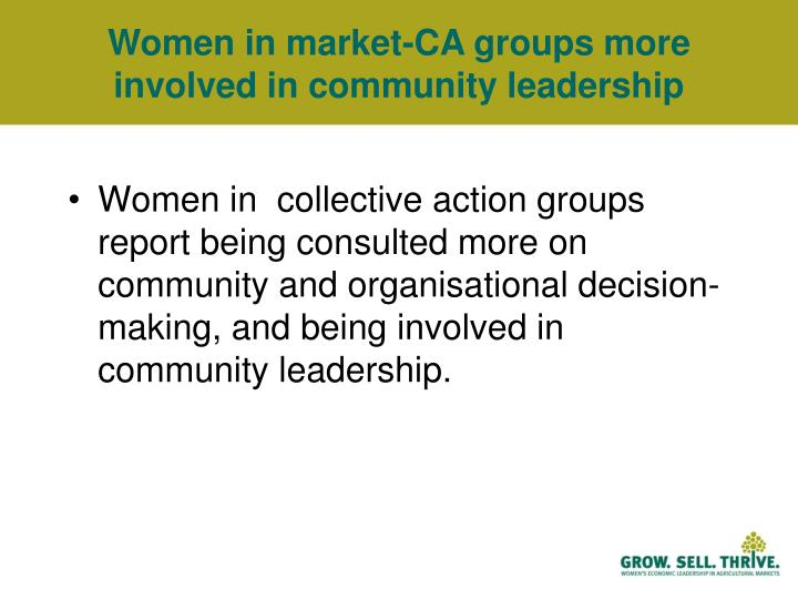 Women in market-CA groups more involved in community leadership