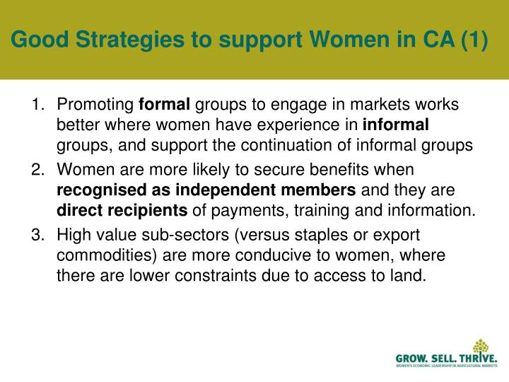 Good Strategies to support Women in CA (1)