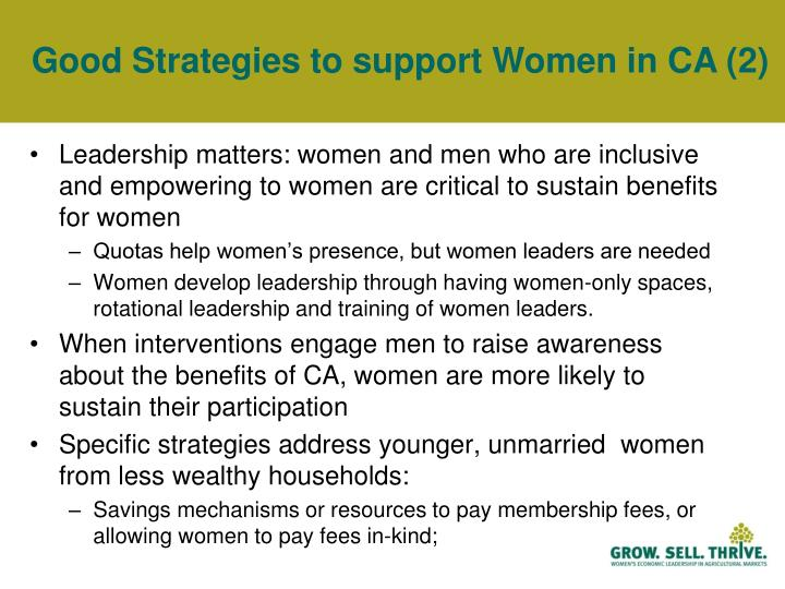 Good Strategies to support Women in CA (2)