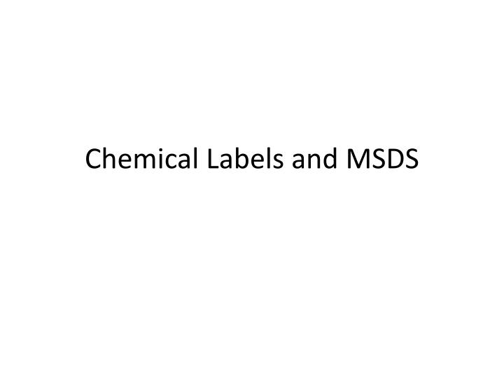chemical labels and msds n.