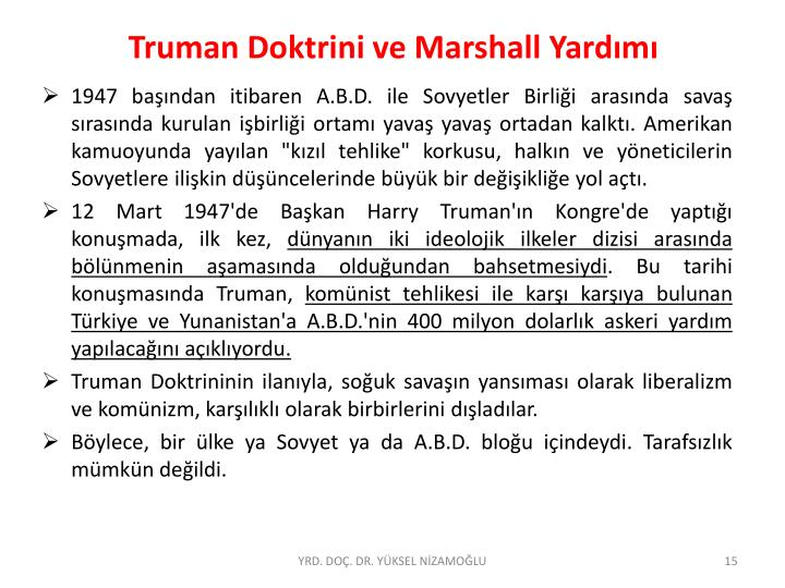 Truman Doktrini ve Marshall