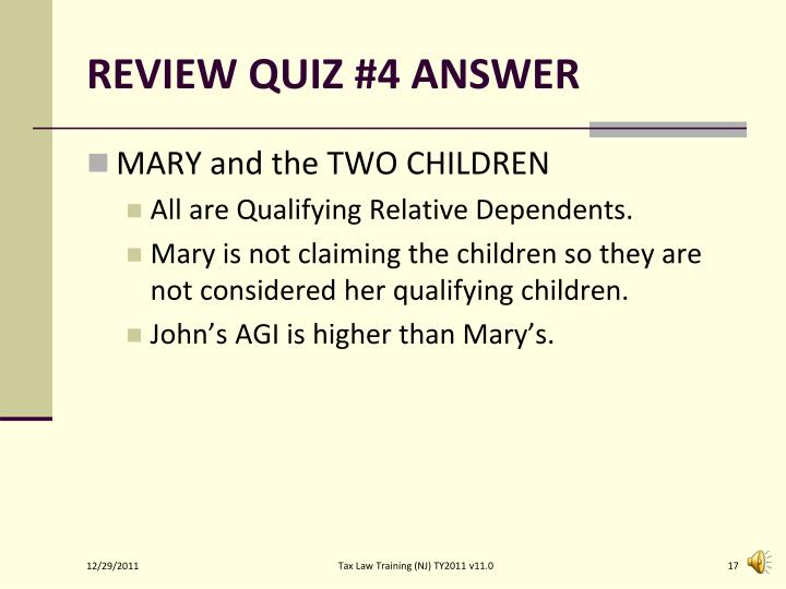 REVIEW QUIZ #4 ANSWER