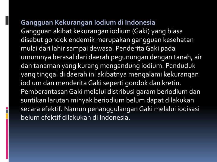 Gangguan Kekurangan Iodium di Indonesia
