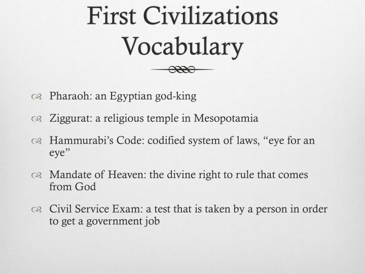 First Civilizations Vocabulary