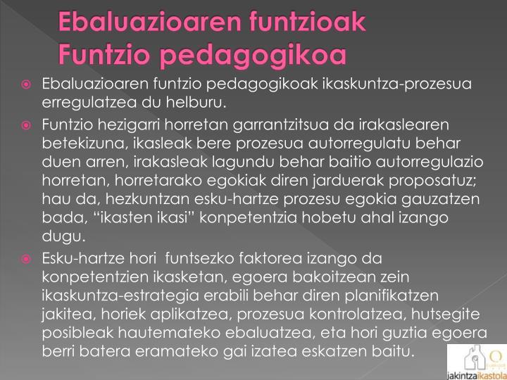 Ebaluazioaren funtzioak