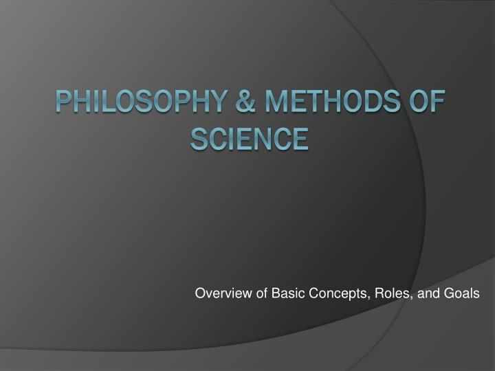 overview of basic concepts roles and goals n.