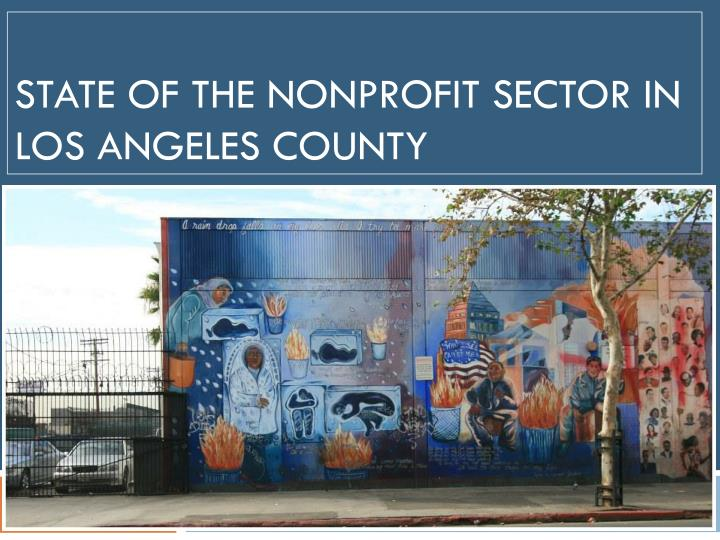 State of the nonprofit sector in los angeles county
