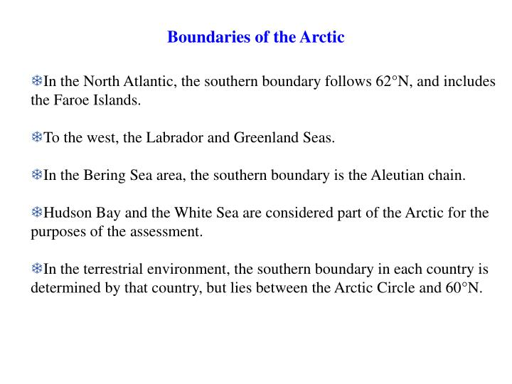 Boundaries of the arctic
