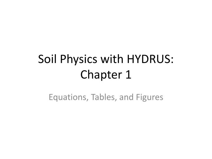 soil physics with hydrus chapter 1 n.