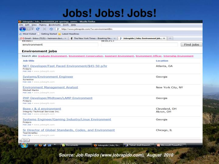 Jobs! Jobs! Jobs!