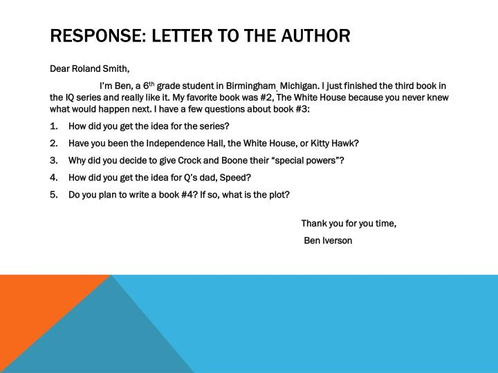 Response letter to the author