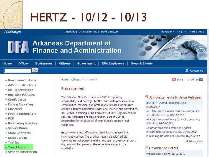 HERTZ- 10/12 - 10/13