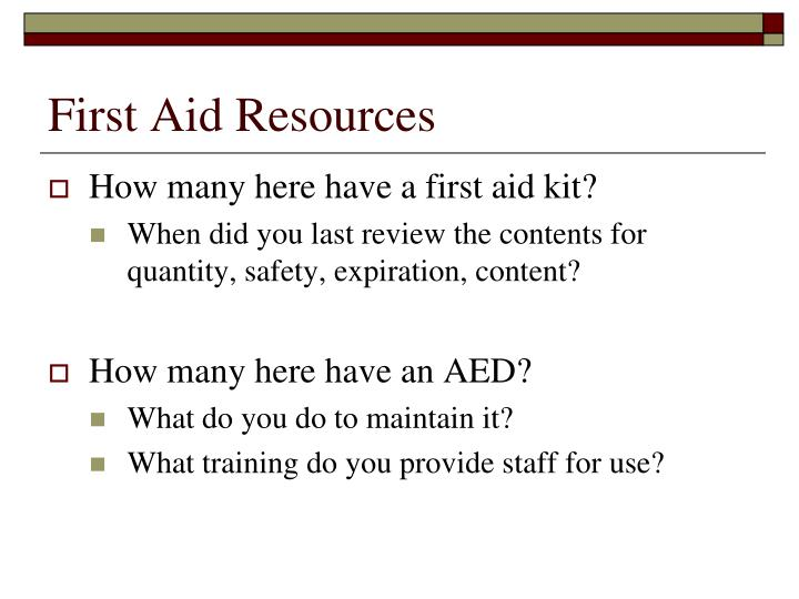 First aid resources1