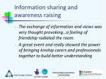 information sharing and awareness raising