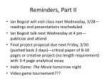 reminders part ii