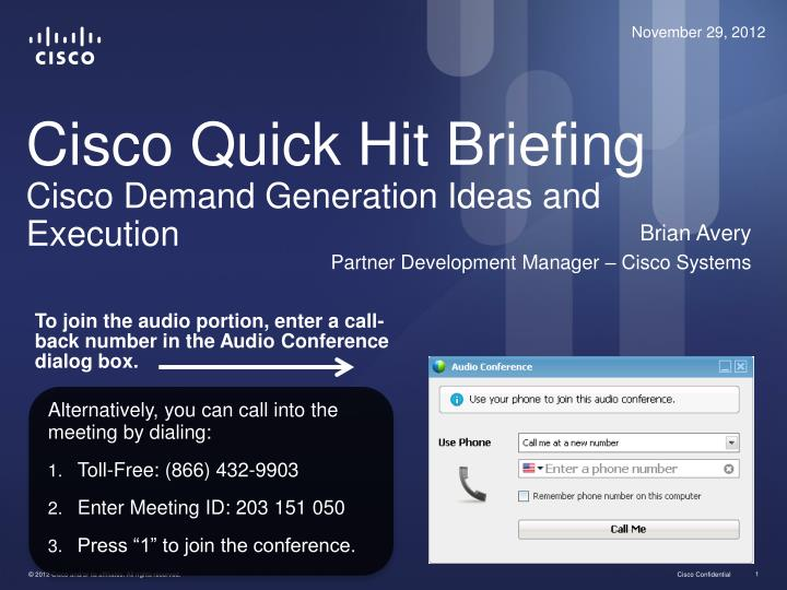 cisco quick hit briefing cisco demand generation ideas and execution n.