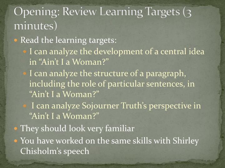 Opening: Review Learning Targets (3 minutes