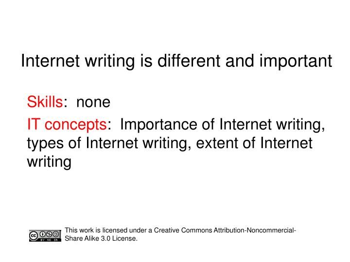 internet writing is different and important n.