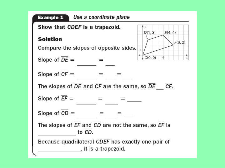 Use properties of trapezoids kites math i red 5 11