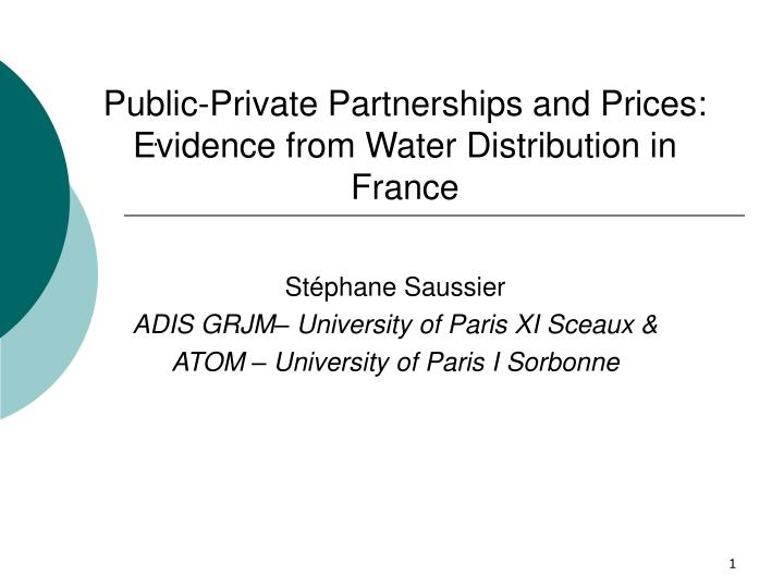 public private partnerships and prices evidence from water distribution in france n.