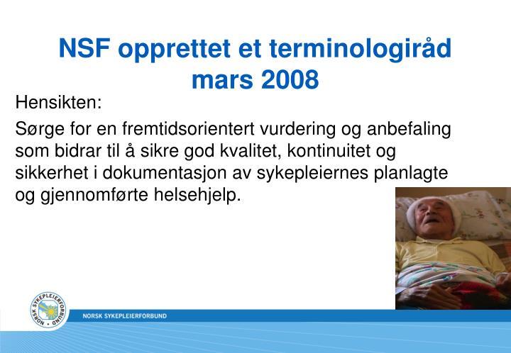 NSF opprettet et terminologiråd