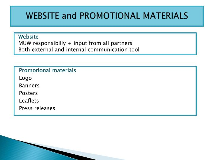 WEBSITE and PROMOTIONAL MATERIALS