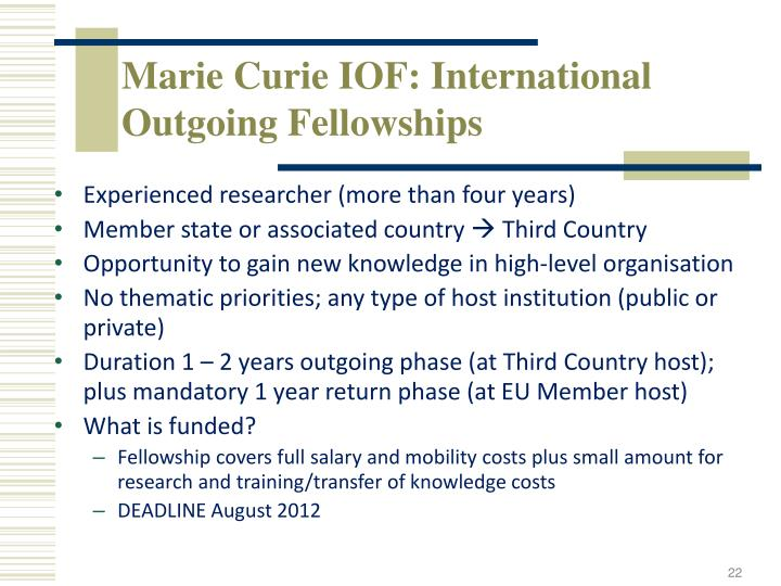 Marie Curie IOF: International Outgoing Fellowships