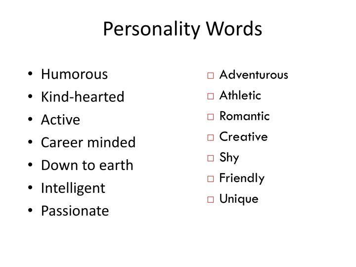 Personality words