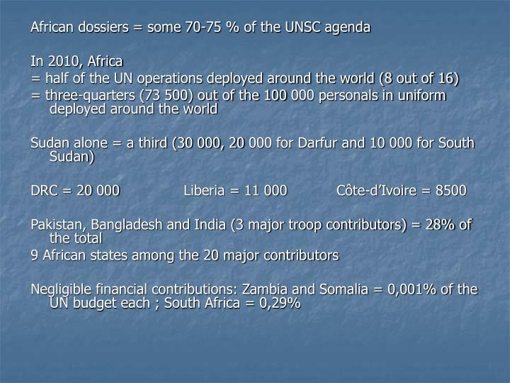 African dossiers = some 70-75 % of the UNSC agenda