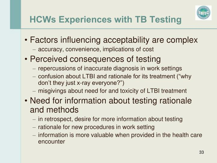 HCWs Experiences with TB Testing