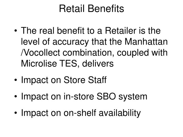 The real benefit to a Retailer is the level of accuracy that the Manhattan /Vocollect combination, coupled with Microlise TES, delivers