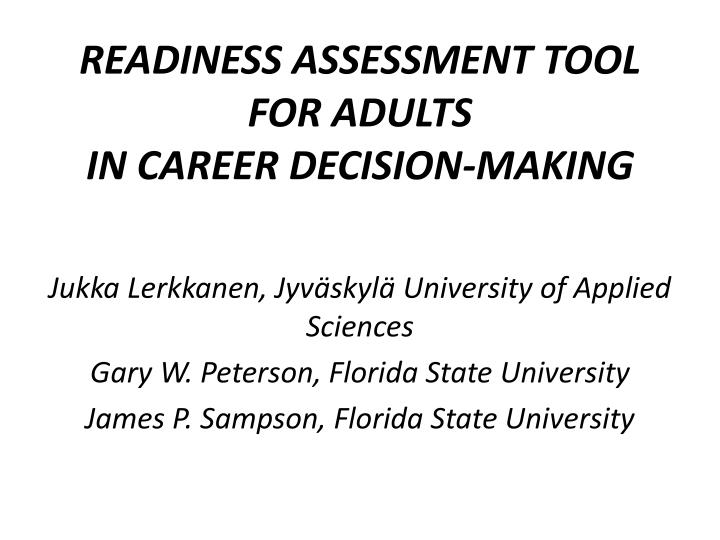 readiness assessment tool for adults in career decision making n.