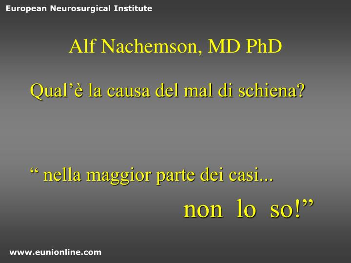 Alf Nachemson, MD PhD
