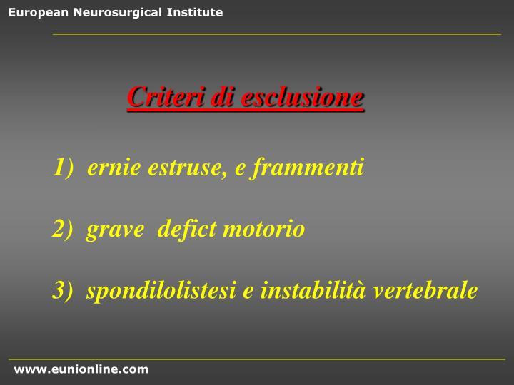 Criteri di esclusione