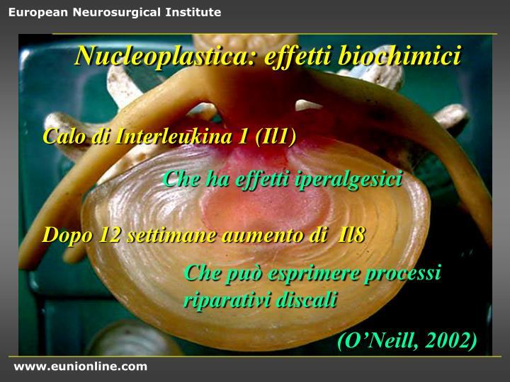 Nucleoplastica: effetti biochimici