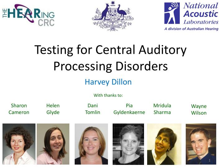 testing for central auditory processing disorders n.