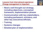 lessons from international experience change management is important