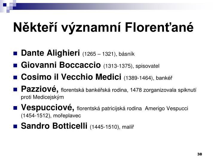 Někteří významní Florenťané