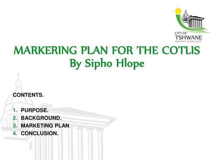 markering plan for the cotlis by sipho hlope n.